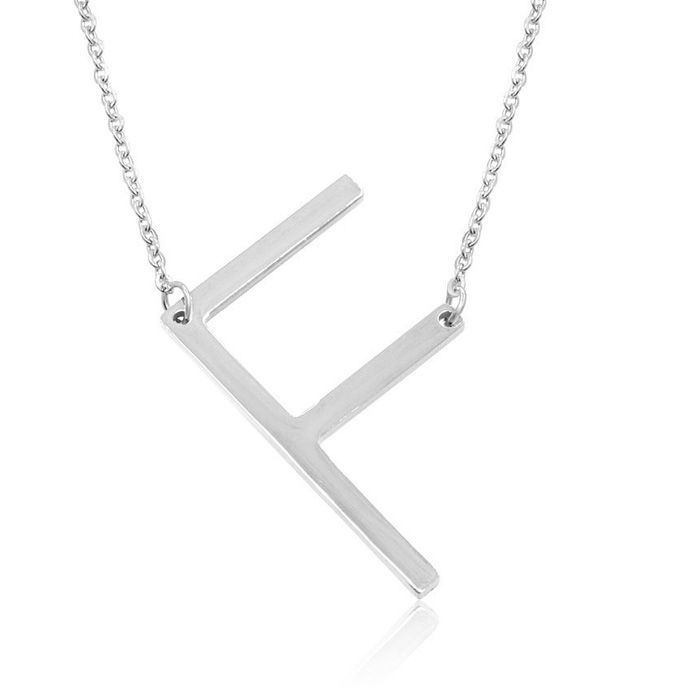 F Initial Sideways Necklace in Silver Overlay, 18 Inches by Super