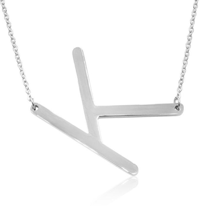K Initial Sideways Necklace in Silver Overlay, 18 Inches by Super