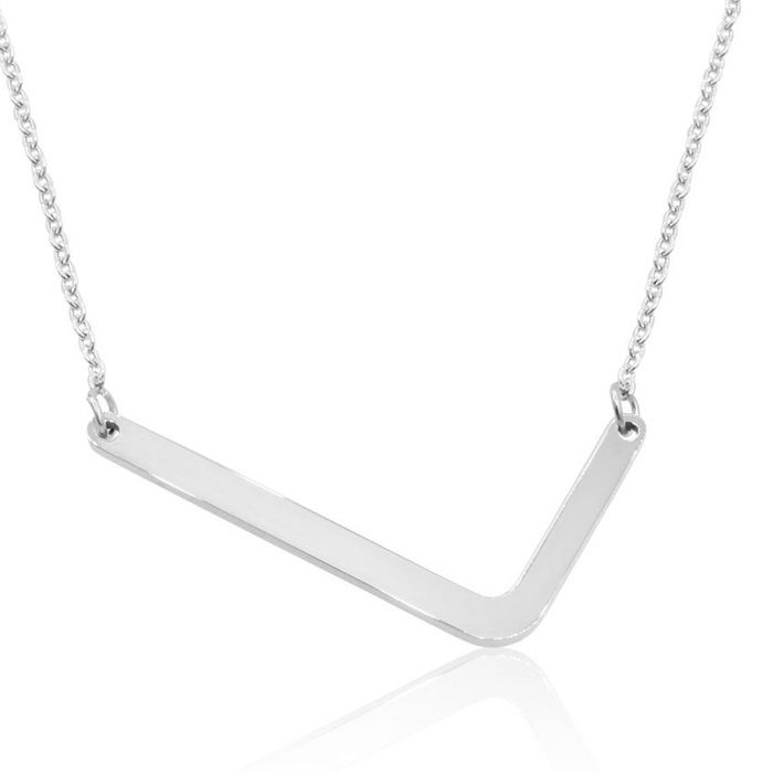 L Initial Sideways Necklace in Silver Overlay, 18 Inches by Super