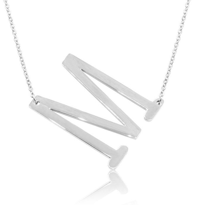 M Initial Sideways Necklace in Silver Overlay, 18 Inches by Super