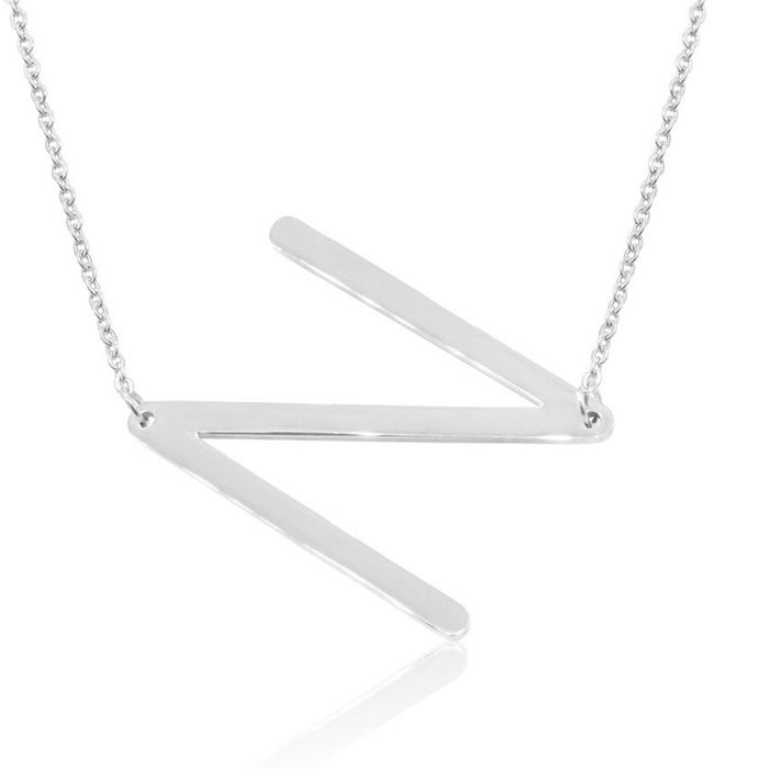 N Initial Sideways Necklace in Silver Overlay, 18 Inches by Super