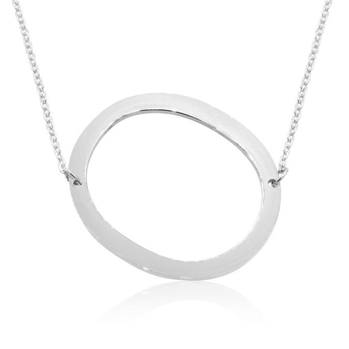 O Initial Sideways Necklace in Silver Overlay, 18 Inches by Super