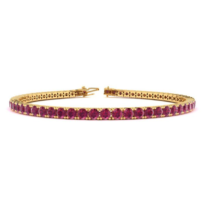 6 Inch 4 1/2 Carat Ruby Tennis Bracelet in 14K Yellow Gold (8.1 g