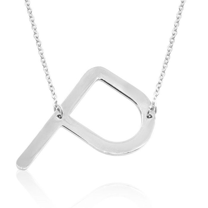 P Initial Sideways Necklace in Silver Overlay, 18 Inches by Super