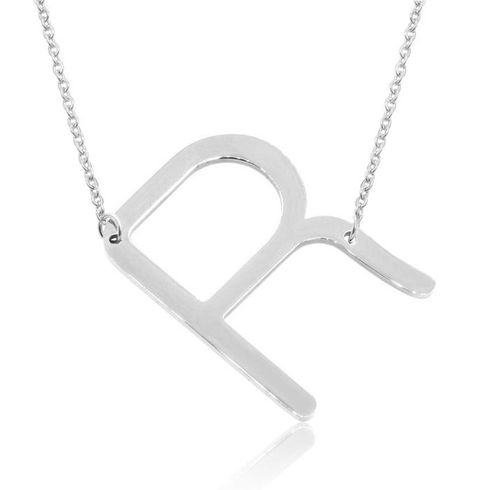 R Initial Sideways Necklace in Silver Overlay, 18 Inches by Super