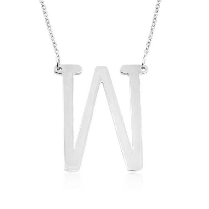 W Initial Sideways Necklace in Silver Overlay, 18 Inches by Super