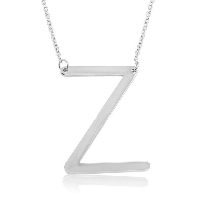 Z Initial Sideways Necklace in Silver Overlay, 18 Inches by Super