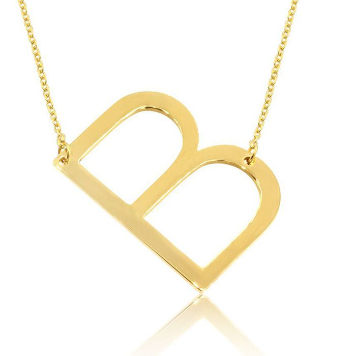 B Initial Sideways Necklace in Gold Overlay, 18 Inches by SuperJe