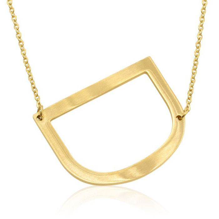 D Initial Sideways Necklace in Gold Overlay, 18 Inches by SuperJe