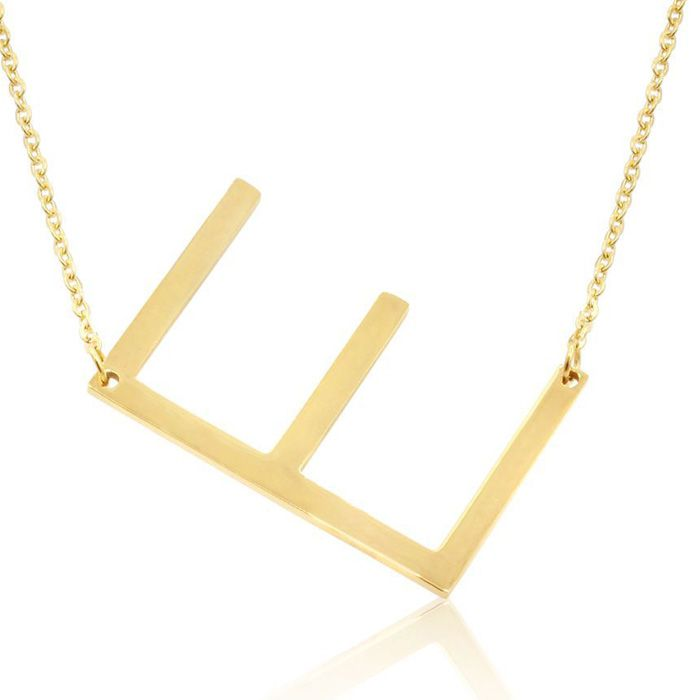 E Initial Sideways Necklace in Gold Overlay, 18 Inches by SuperJe