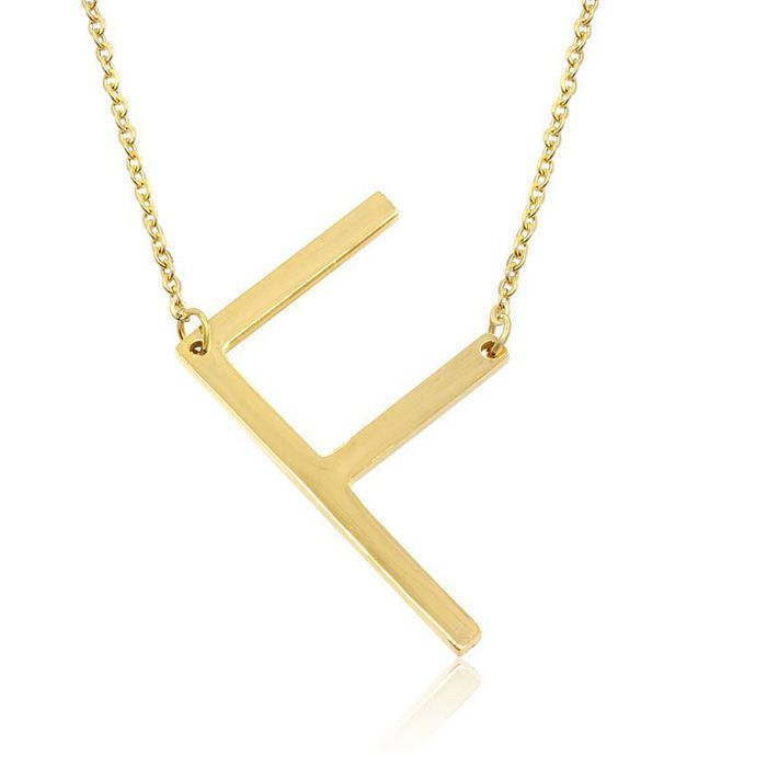 F Initial Sideways Necklace in Gold Overlay, 18 Inches by SuperJe