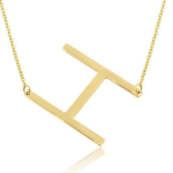H Initial Sideways Necklace in Gold Overlay, 18 Inches by SuperJeweler