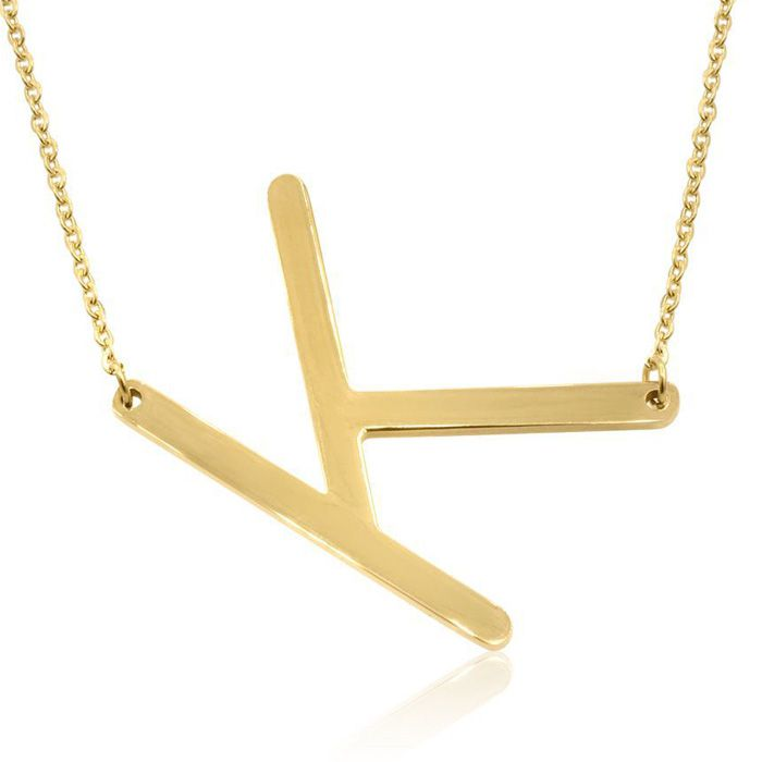 K Initial Sideways Necklace in Gold Overlay, 18 Inches by SuperJe