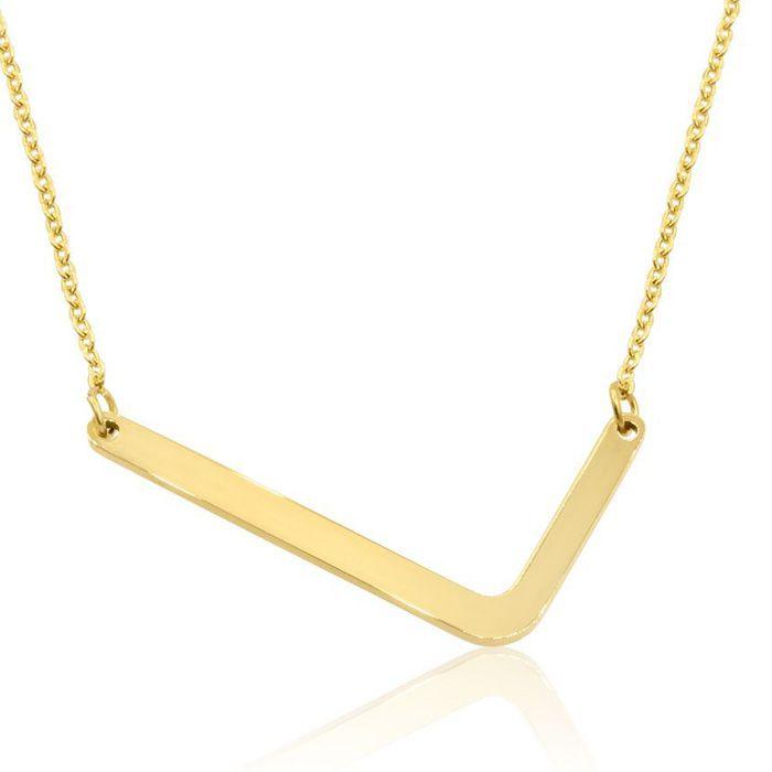 L Initial Sideways Necklace in Gold Overlay, 18 Inches by SuperJe