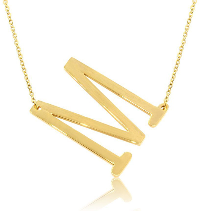 M Initial Sideways Necklace in Gold Overlay, 18 Inches by SuperJe