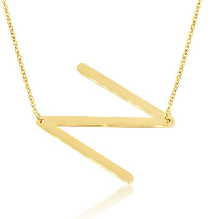 N Initial Sideways Necklace in Gold Overlay, 18 Inches by SuperJe