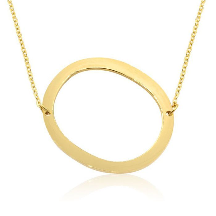 O Initial Sideways Necklace in Gold Overlay, 18 Inches by SuperJe