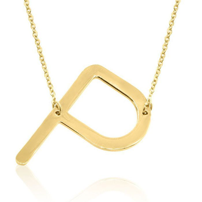 P Initial Sideways Necklace in Gold Overlay, 18 Inches by SuperJe