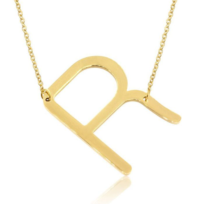 R Initial Sideways Necklace in Gold Overlay, 18 Inches by SuperJe