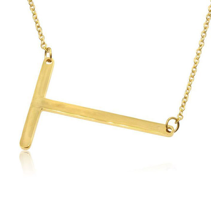 T Initial Sideways Necklace in Gold Overlay, 18 Inches by SuperJeweler