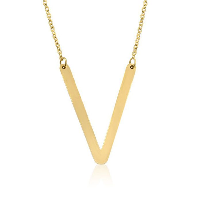 V Initial Sideways Necklace in Gold Overlay, 18 Inches by SuperJe