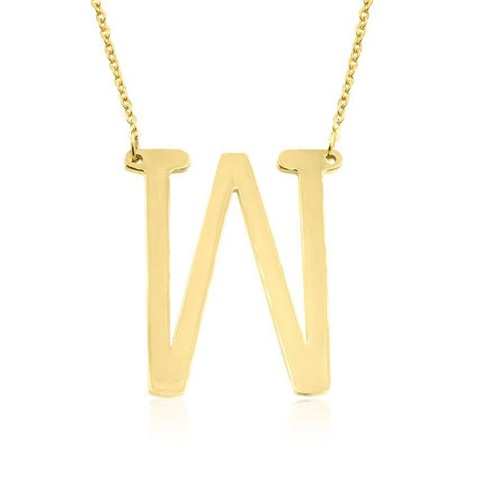 W Initial Sideways Necklace in Gold Overlay, 18 Inches by SuperJe