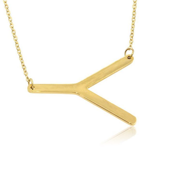 Y Initial Sideways Necklace in Gold Overlay, 18 Inches by SuperJeweler