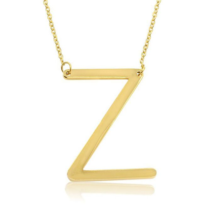 Z Initial Sideways Necklace in Gold Overlay, 18 Inches by SuperJe