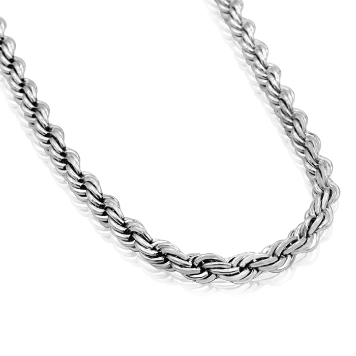 Mens 5.5MM Rope Chain Necklace, 20 Inches by SuperJeweler