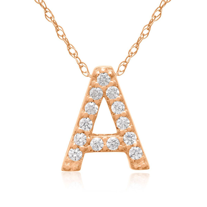 A Initial Necklace in 18K Rose Gold (2.6 g) w/ 13 Diamonds, G/H,