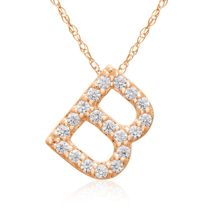 B Initial Necklace in 18K Rose Gold (2.6 g) w/ 19 Diamonds, G/H, 18 Inch Chain by SuperJeweler