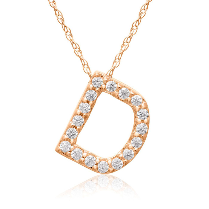 D Initial Necklace in 18K Rose Gold (2.6 g) w/ 17 Diamonds, G/H,