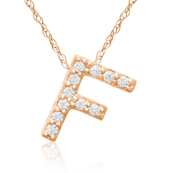F Initial Necklace in 18K Rose Gold (2.6 g) w/ 11 Diamonds, G/H,
