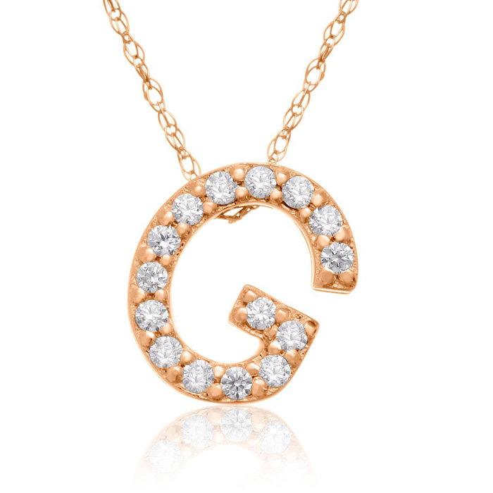 G Initial Necklace in 18K Rose Gold (2.6 g) w/ 15 Diamonds, G/H,