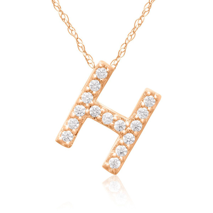 H Initial Necklace in 18K Rose Gold (2.6 g) w/ 15 Diamonds, G/H,