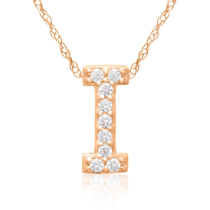 I Initial Necklace in 18K Rose Gold (2.6 g) w/ 9 Diamonds, G/H, 1