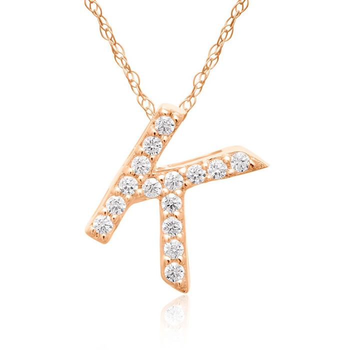 K Initial Necklace in 18K Rose Gold (2.6 g) w/ 15 Diamonds, G/H,