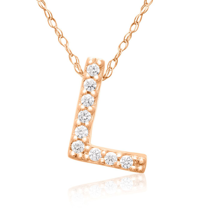 L Initial Necklace in 18K Rose Gold (2.6 g) w/ 9 Diamonds, G/H, 1