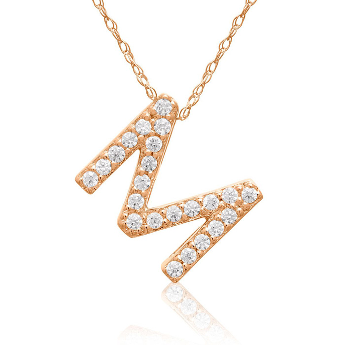 M Initial Necklace in 18K Rose Gold (2.6 g) w/ 23 Diamonds, G/H,