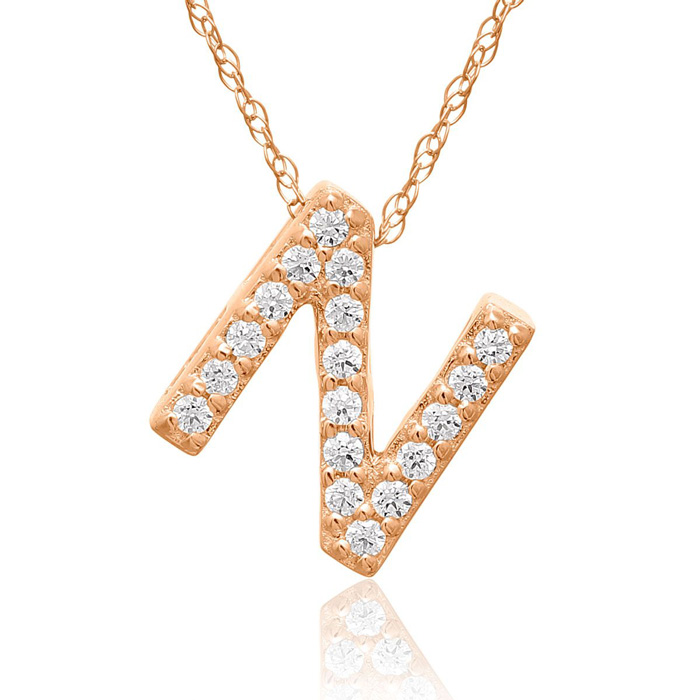 N Initial Necklace In 18K Rose Gold