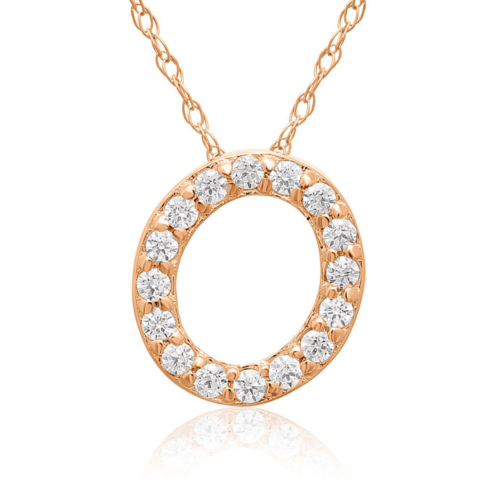 O Initial Necklace in 18K Rose Gold (2.6 g) w/ 16 Diamonds, G/H,