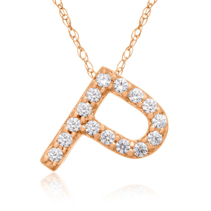 P Initial Necklace in 18K Rose Gold (2.6 g) w/ 15 Diamonds, G/H,