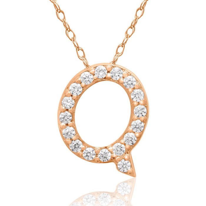 Q Initial Necklace in 18K Rose Gold (2.6 g) w/ 17 Diamonds, G/H,