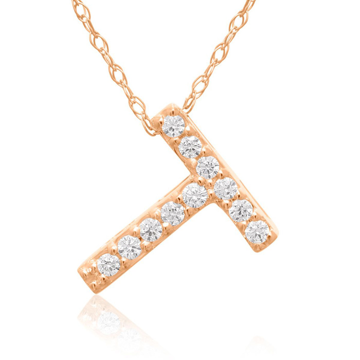 T Initial Necklace in 18K Rose Gold (2.6 g) w/ 11 Diamonds, G/H, 18 Inch Chain by SuperJeweler