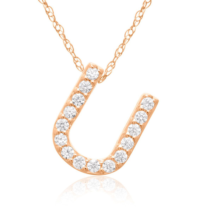 U Initial Necklace in 18K Rose Gold (2.6 g) w/ 15 Diamonds, G/H,
