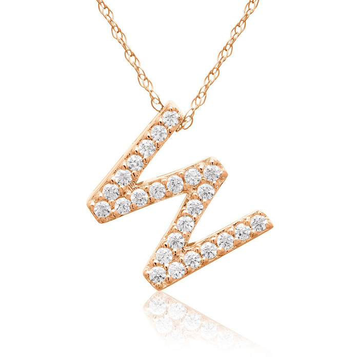 W Initial Necklace in 18K Rose Gold (2.6 g) w/ 25 Diamonds, G/H,