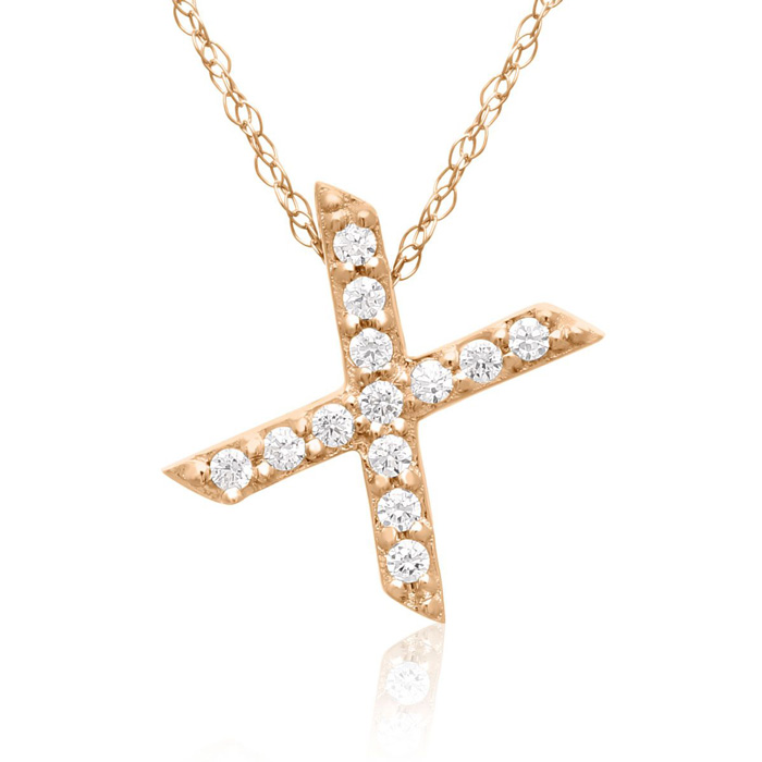 X Initial Necklace in 18K Rose Gold (2.6 g) w/ 13 Diamonds, G/H,