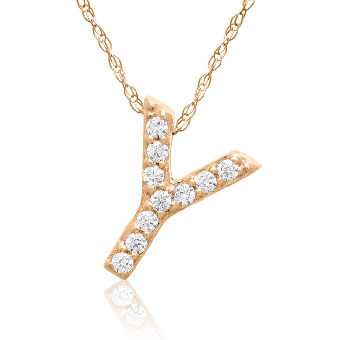 Y Initial Necklace in 18K Rose Gold (2.6 g) w/ 10 Diamonds, G/H,