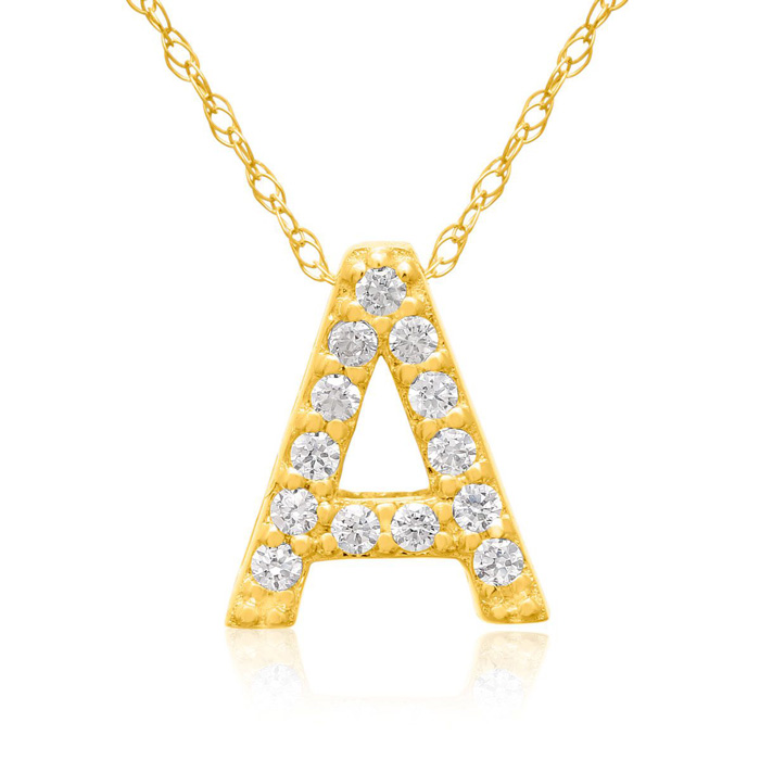 A Initial Necklace in 18K Yellow Gold (2.6 g) w/ 13 Diamonds, G/H