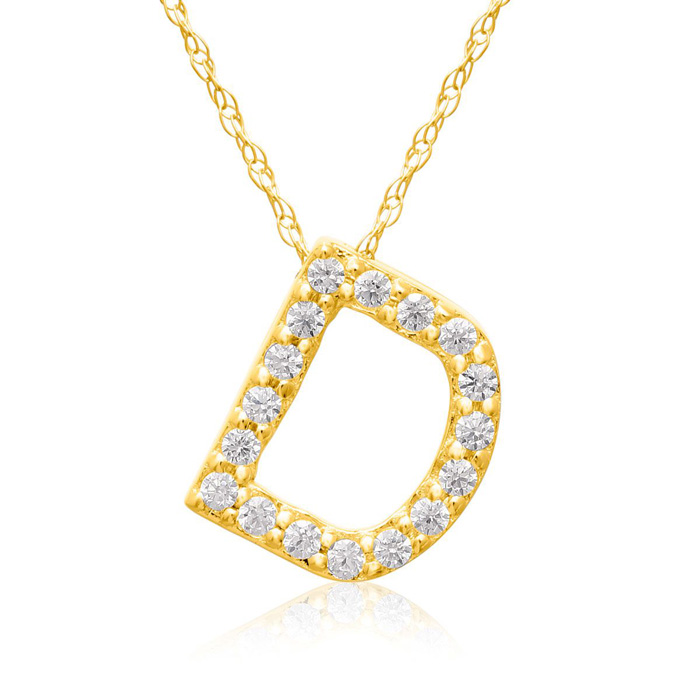 D Initial Necklace in 18K Yellow Gold (2.6 g) w/ 17 Diamonds, G/H